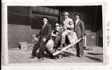 Arvid Norstrum, Gus Svenson, and Francis Ringler moving beer from depot, Binford, N.D.