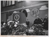 President John F. Kennedy addressing the crowd at University of North Dakota, Grand Forks, N.D.