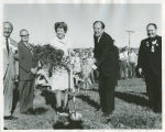 Jean Guy and Hubert H. Humphrey with shovels at Kennedy Memorial Center groundbreaking, Bismarck,...