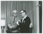 Frank Farrar and William L. Guy announcing first Governor's Cup Golf Match, Bismarck, N.D.