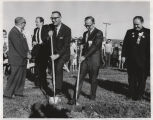 William L. Guy and Rolland Redlin with shovels at Kennedy Memorial Center groundbreaking,...