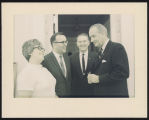 Fritzie and Myron Bright with Quentin Burdick and Lyndon B. Johnson at the White House,...