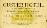 Custer Hotel business card
