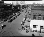 Elevated view looking down on Broadway, Fargo, N.D.