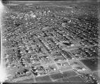 Aerial with downtown Grand Forks, N.D. in background