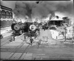 Steam locomotives at Great Northern depot, Fargo, N.D.