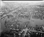 Aerial over Moorhead, Minn. during spring flood of 1943