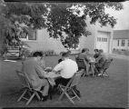 Outdoor picnic at North Dakota School of Religion, Fargo, N.D.
