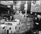 Red Owl store sampling display for Aunt Jemima Ready Mix pancakes, Fargo, N.D.