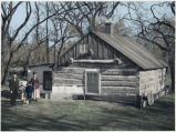 Mr. & Mrs. Jim O'Brien by their log cabin home, Park River, North Dakota