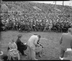 Crowd at Dacotah Field during visit of Crown Prince Olav of Norway, Fargo, N.D.