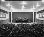 Choir singing for Crown Prince Olav, Festival Hall, North Dakota Agricultural College, Fargo, N.D.