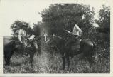 Two men on horses on Fosholdt farm near Butte Machaud