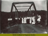 Group from South Walhalla, N.D. neighborhood on condemned bridge
