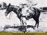 Theodore Roosevelt by horse in North Dakota Badlands