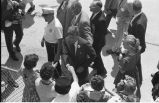 Senator John F. Kennedy greeting crowds at Hector Airport, Fargo, N.D.