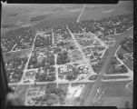 Aerial view over Hawley, Minn.