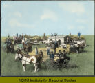 John McKay threshing outfit, Milton, North Dakota showing the threshing rig, the crew, the cook...