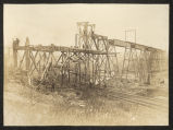 Constructing railroad trestle bridge near Spring Valley, Illinois