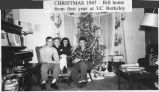 Anne Critchfield with children Pat, Peggy and Bill by family Christmas Tree, Fargo, N.D.