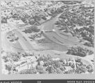 Aerial photograph looking northeast over flood control project on the Red River between, Fargo, N.D.