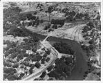 Aerial over flood control project, Fargo, N.D.