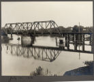 View of Northern Pacific bridge during summer 1916 flood