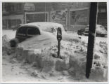 Buried car on Broadway during 1944 blizzard, Fargo, N.D.