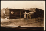 Bertha Claude Breckenridge outside her homestead shack, Adams County, N.D.