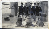 Collegians band on the deck of the S.S. President McKinley