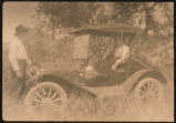 August and Anna Swanson by automobile, Slope County, N.D.