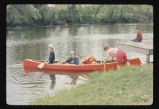 Three women about to canoe on Sheyenne River, N.D.