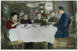 Sunday night supper : Myrtle Erickson, Mrs. George Erickson, Mrs. Fred Erickson, Fred Erickson, Andrew