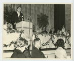 Ronald Reagan giving a speech in Fargo, N.D.