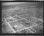 Aerial over Shanley School and Sacred Heart Convent in Fargo, N.D. after tornado