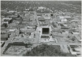 Aerial over downtown and Island Park, Fargo, N.D.
