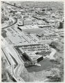Aerial over American Crystal Sugar headquarters and downtown Moorhead, Minn.