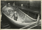 Robert Asp and his Viking ship the Hjemkomst, Hawley, Minn.