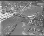 Aerial view of 8th Avenue viaduct over the N.P. Railroad Tracks, Mandan, N.D. during flood
