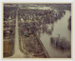 Aerial over south 4th Street during flood, Fargo, N.D.