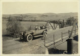 Automobile crossing bridge over Apple Creek, Burleigh County, N.D.