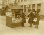 Salvation Army booth; H. W. Gearey at center, Fargo, N.D.