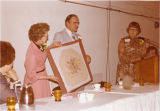 Chair covers presented to Gov. and Mrs. Art Link, at NDSU, Fargo, N.D.