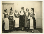 Six women dressed in Norwegian costumes, members of Fine Arts Club of Fargo