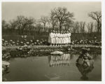 Nurses by pond at Veterans Administration Medical Center, Fargo, N.D.