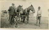 Riley M. Hadlock and William Hadlock with team of horses