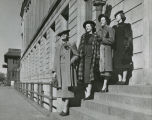 Herbst models on steps of Federal Building, Fargo, N.D.